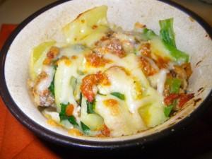 野菜とトマトサーディンのチーズ焼き(3色焼き)イメージ